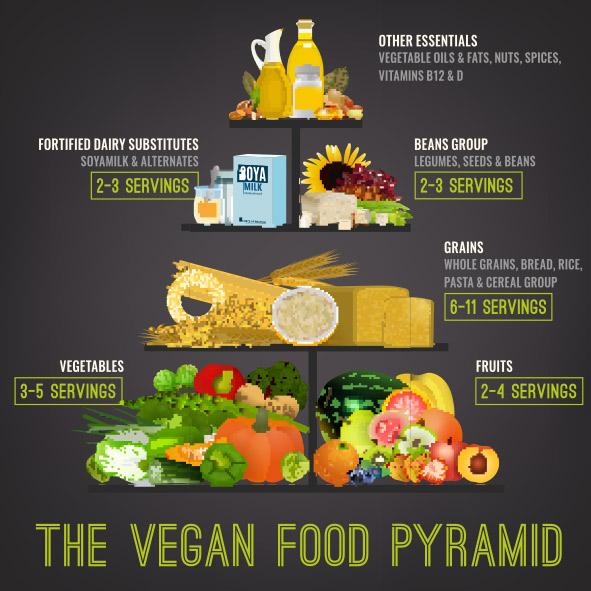 Die vegane Ernährungspyramide für eine vollwertige und gesunde Ernährung