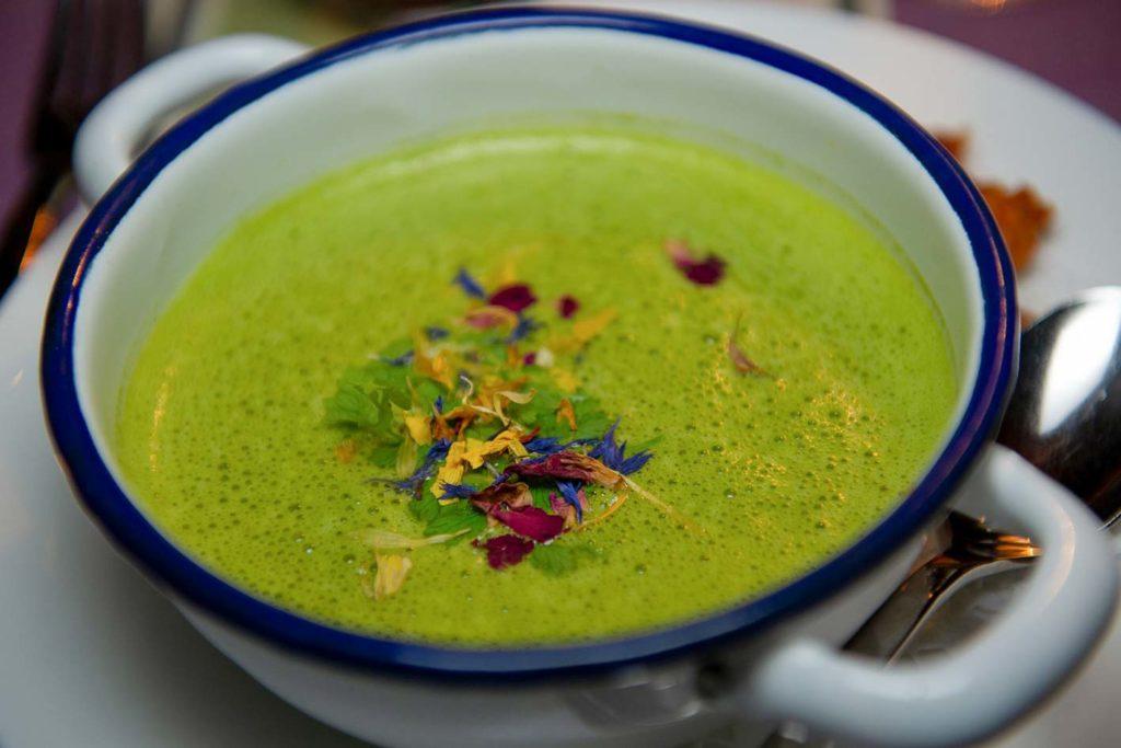 Die Brokkolisuppe zum veganen Weihnachtsessen darf nicht fehlen. Diese gibt es auch als vegane Version und lässt sich schnell und einfach zuzubereiten.